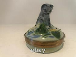 Gray Tabby Kitten Cat Playing with Frog Limoges Artoria Porcelain Trinket Box