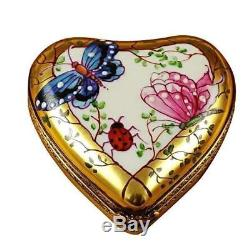 HEART-BUTTERFLY ON GOLD BASE NEW Limoges Boxes Porcelain Trinket Snuff Box Franc
