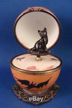 Halloween Decor Orange Egg Music Box Black Cat FRENCH LIMOGES box