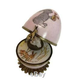 Hand Painted Bunny Limoges Musical Egg, Pink