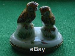 Hand Painted France Limoges Trinket Box DOUBLE OWLS Estate