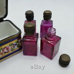 Hand Painted Limoges France Porcelain Trinket Box with Scent Perfume Bottles