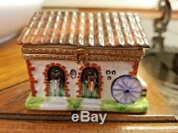 Hand Painted Limoges Rochard Horse Barn With Resting Horse Inside Trinket Box