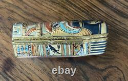 Intricate Limoges trinket box of Cleopatras Mummy And Sarcophagus
