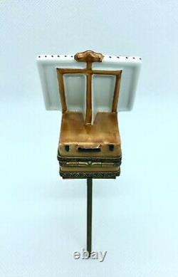LE Limoges Trinket Box Artist Easel Articulated Legs Notre Dame France