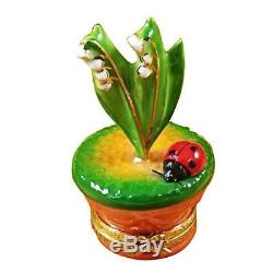LILY OF THE VALLEY WithLADYBUG IN POT NEW Limoges Boxes Porcelain Trinket Snuff Bo