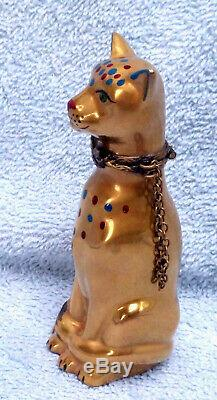 LIMOGES 22kt GOLD CAT HAND PAINTED FRANCE PORCELAIN TRINKET BOX EGYPTIAN Xmas