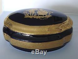 Limoges Castel Large 8 Oval Trinket Box Fragonard Cobalt Blue 22k Gold
