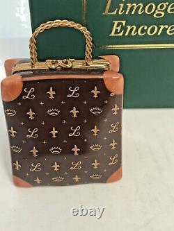 LIMOGES CL Designer Louis French Logo Kelly HandbagFleur LisHand Painted Box