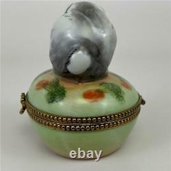 LIMOGES Chamart PV France Easter Bunny Rabbit Carrot Egg Porcelain Trinket Box