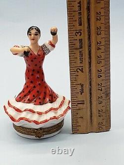 LIMOGES FRANCE BOX Rochard- SPANISH FLAMENCO DANCER & CASTANETS