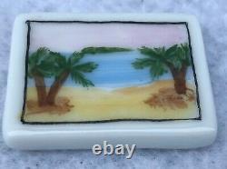 LIMOGES FRANCE Beach Bag/Post Card Hinged Box Hand-painted Peint Main 2x2