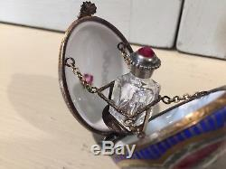 LIMOGES FRANCE FD Presentation Egg Crystal bottle Hinged Trinket Box Peint Main