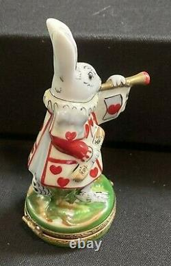 LIMOGES FRANCE PEINT MAIN ROCHARD Rabbit Playing Horn Red Hearts Trinket Box