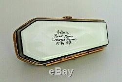 LIMOGES France Artoria Peint Main COFFIN CASKET SKELETON Porcelain Trinket Box