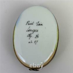 LIMOGES France Beatrix Potter-look Bunny Oval Peint Main Porcelain Trinket Box