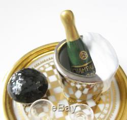 LIMOGES France Hinged TRINKET BOX Champagne Brut and Beluga Box Peint Main GR