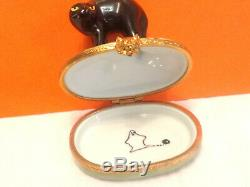 LIMOGES France Peint Main Black Cat Ghost Pumpkn Halloween Porcelain Trinket Box
