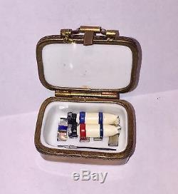 LIMOGES France Peint Main LA VIE EN ROSE EASEL WITH PAINT BOX Trinket Box