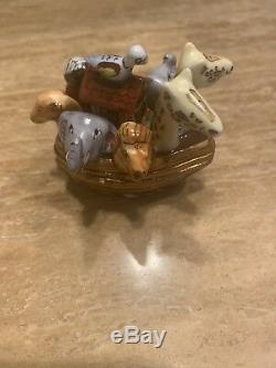 LIMOGES France Peint Main NOAH'S ARK Hinged Trinket Box