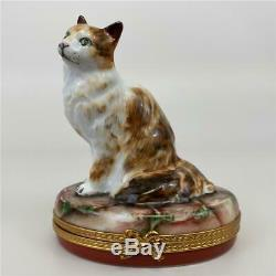 LIMOGES France Pierre Arquie Large White Brown Cat Kitten Porcelain Trinket Box