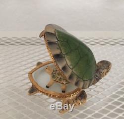 LIMOGES France Porcelain Peint Main Sea Turtle Trinket Box