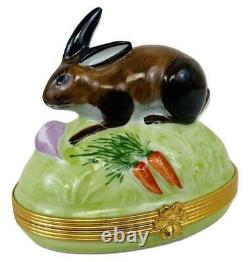 LIMOGES France TIFFANY &CO Bunny Rabbit Carrot Dome Porcelain Figure Trinket Box