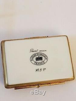 LIMOGES HAND PAINTED BALLERINA PORCELAIN TRINKET BOX FRANCE signed MJP w stand
