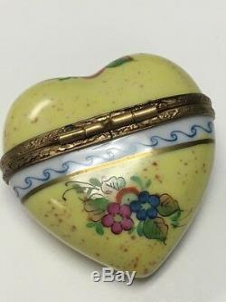 LIMOGES Hand Painted in France Rochard Yellow Heart Trinket Box Butterfly Flower