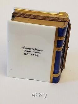 LIMOGES Porcelain TRINKET BOX Book Shape Paris Mini Cobalt Jeweled PERFUME