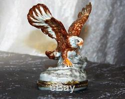 LIMOGES ROCHARD EAGLE TRINKET BOX Hinged FRANCE Peint Main Porcelain SCARCE