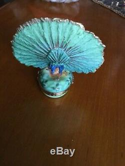 LIMOGES TRINKET BOX PEACOCK WithREMOVABLE PLUME FEATHERRAPEXCELLENT! WOWRARE