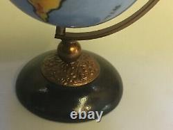 LIMOGES WORLD GLOBE ON STAND Peint Main France TRINKET BOX EAGLE CLASP