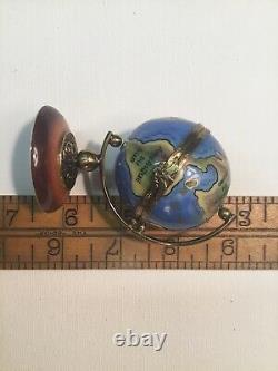 LIMOGES World GLOBE Puy de Dome Peint Main Trinket Box