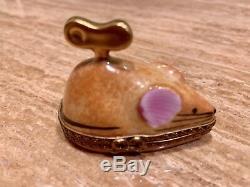 LImoges France Handpainted Trinket Box Wind-up Brown Mouse