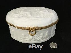 Large French Limoges Coquet Bisque Porcelain Dresser Box With Cherubs. #105