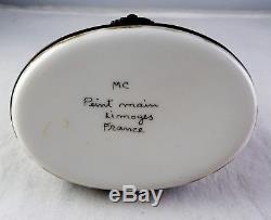 Large Sitting Fox Limoges French Porcelain Trinket Box Peint Main