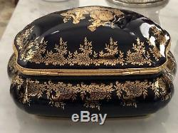 Large Size vintage Limoges Blue romantic victorian trinket Jewelry Box 22k gold