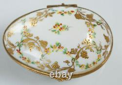 Le Tallec Egg France Porcelain Hand Painted Limoges Egg Flowers