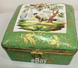 Le Tallec Large Jewelry Trinket Box Green Birds of Paradise 6x6x3.5 Limoges
