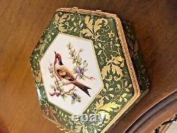 Le Tallec Large trinket box hexagon shape rare pattern Oiseaux France1968