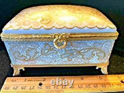 Le Tallec large trinket box Dentelle en Or pattern (Golden lace) 1969 France