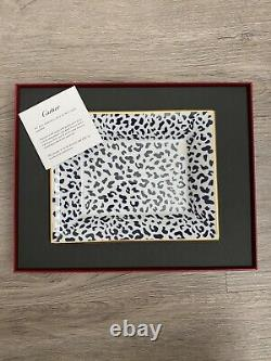 Leopard Print Cartier Limoges Trinket Tray, 6x7.5, brand new in box