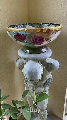 Limoge France Hand Painted Punchbowl Pink, Red, And White Roses