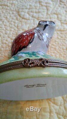 Limoge Peint Main Vintage Large 4 Hand Painted OWL trinket or snuff box France