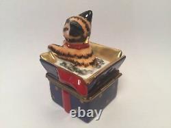 Limoges Adorable KITTY CAT in BLUE Gift Box ROCHARD Trinket Box