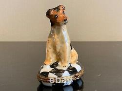 Limoges Adorable Terrier Dog Hand Painted Porcelain Trinket Box