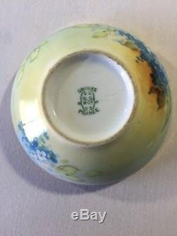 Limoges Antique Artist Signed Lidded Trinket Dresser Box Blue Gold Floral 4 1/4