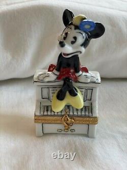 Limoges Artoria Peint Main Minie Mouse sitting on a Piano Trinket Box