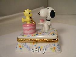 Limoges Artoria Snoopy & Woodstock Birthday Party Trinket Box Retired RARE